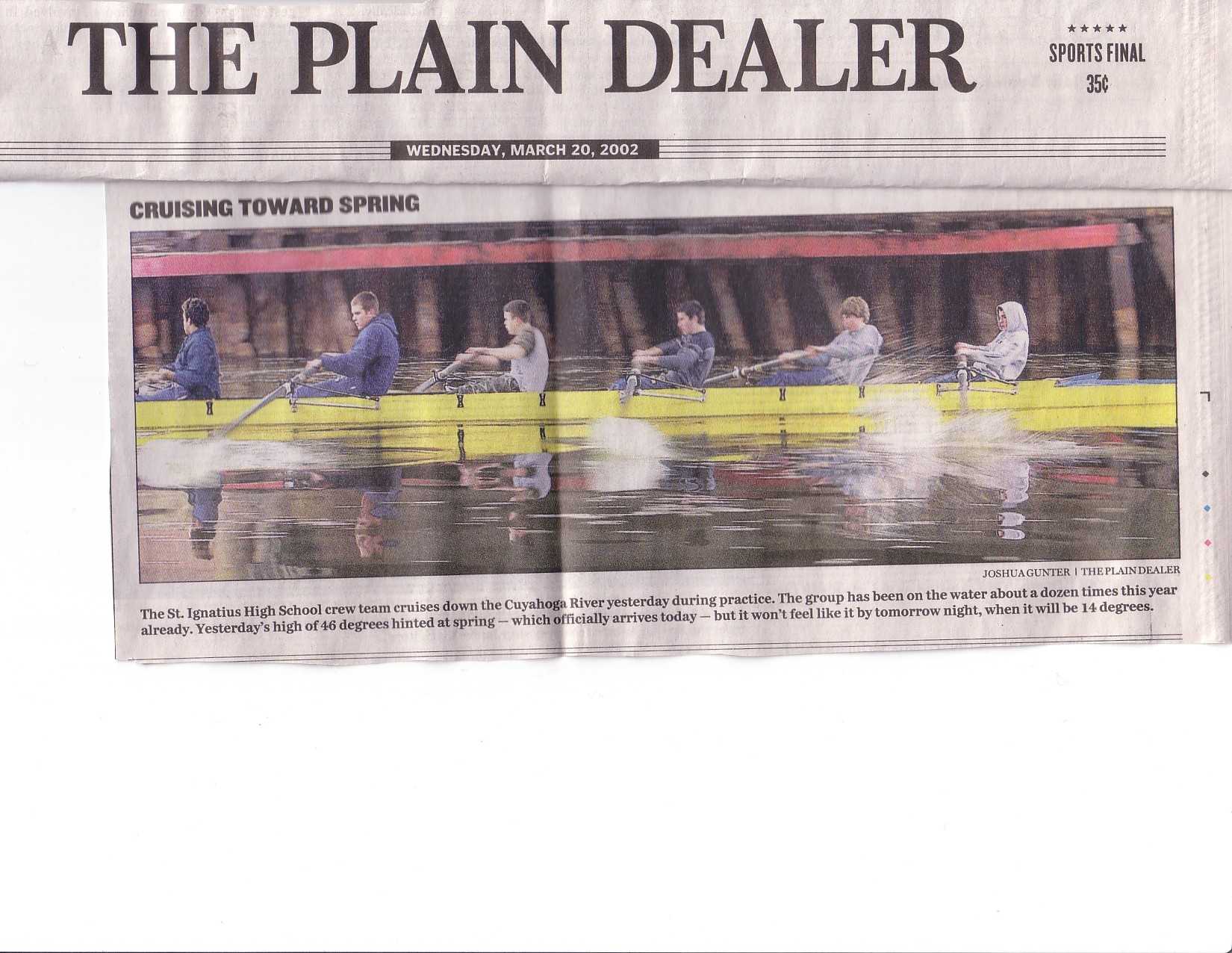 2002 Spring MISC: Cover of Plain Dealer, Wednesday March 20th, 2002